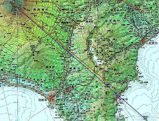 伊豆山から富士山までの図